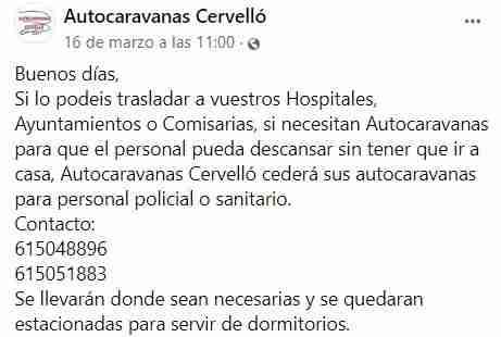 autocaravanas solidaridad crisis cervello coronavirus facebook
