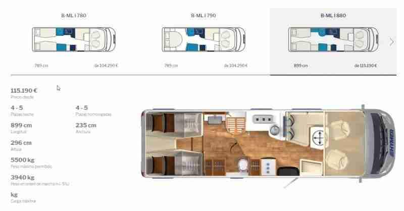 B-ML 880 Mercedes  Hymer clase B masterline fotos e imagenes interior Hymer clase B masterline