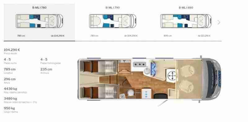 B-ML 780 Mercedes fotos e imagenes interior Hymer clase B masterline