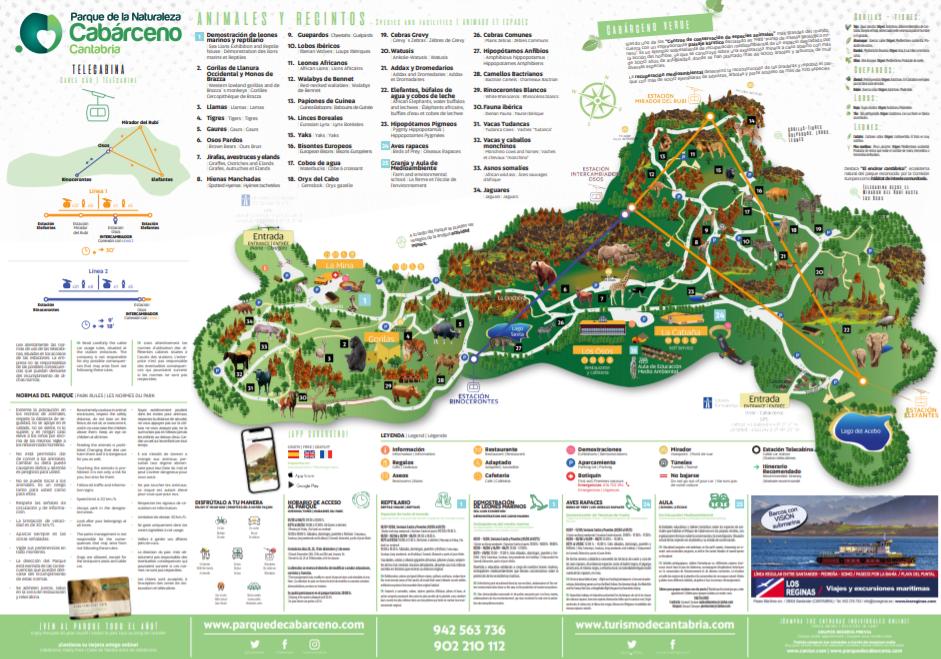 plano del Parque de Cabarceno cantabria actividades