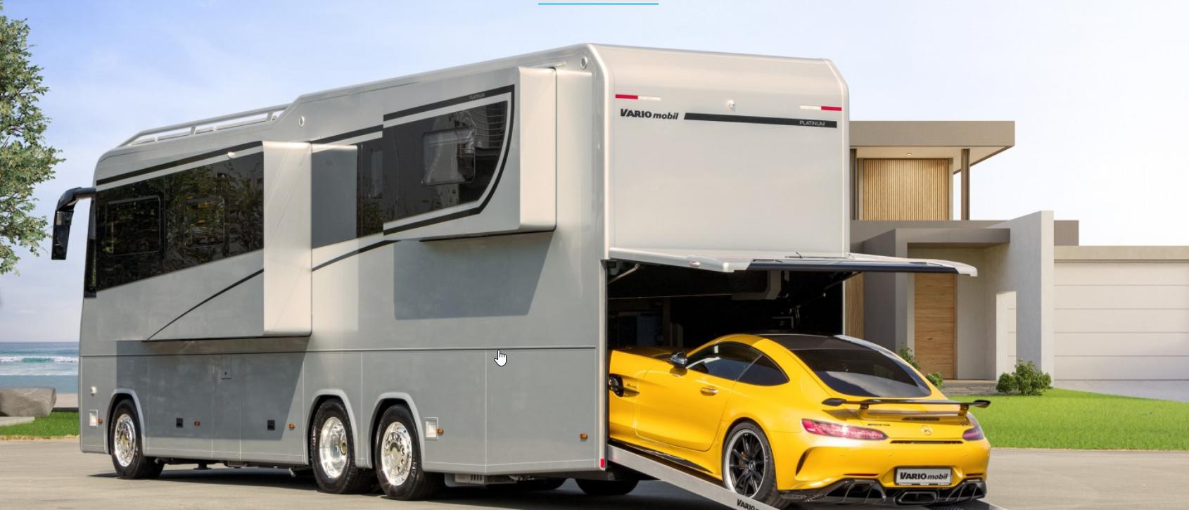 autocaravana con garaje para deportivo