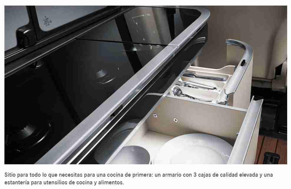 Cocina de la autocaravana Marco Polo de Mercedes Benz