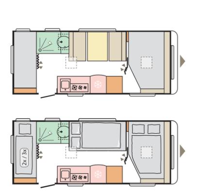 hasta 6 personas de capacidad durmiendo en la caravana 542 PK adria altea