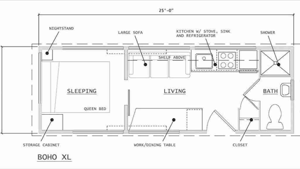 caravana de ikea y Escape, plano previsto diseño casa con ruedas