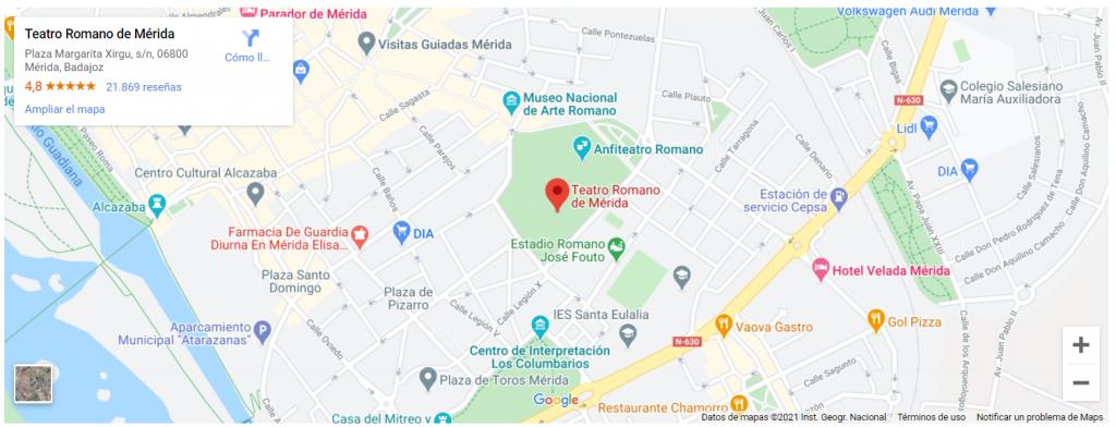 mapa de teatro romano de merida - qué hacer en mérida - turismo
