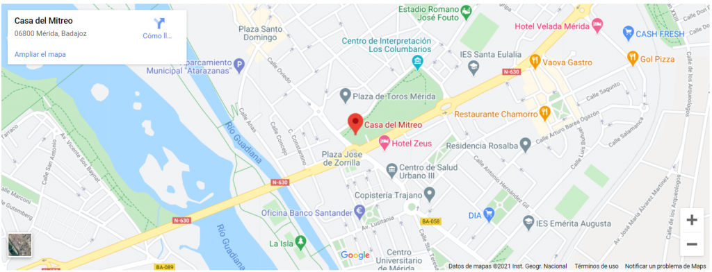 Mapa de la casa de Mitreo en Mérida