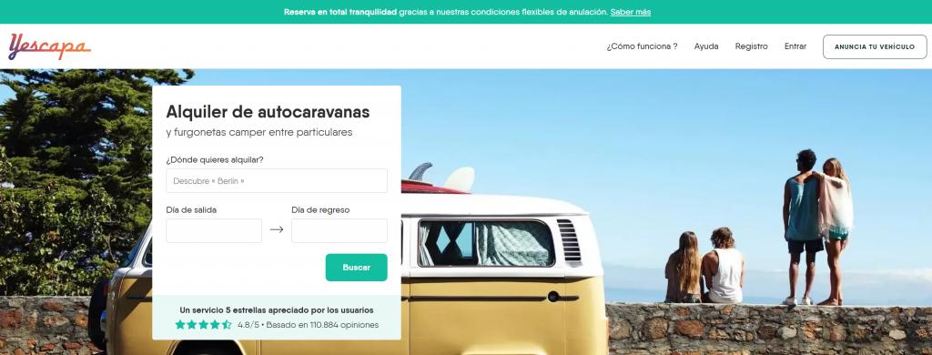 yescapa web reserva autocaravanas