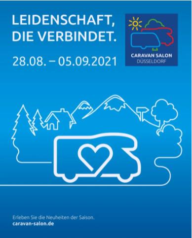 caravan salon 2021 cartel de la feria de caravaning, furgonetas y senderismo