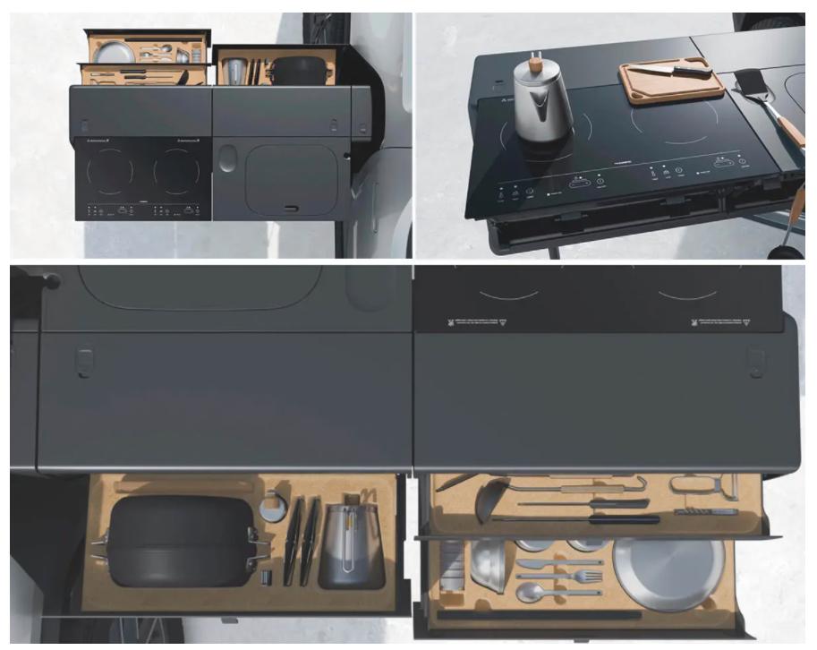 cocina extra de rivian para el modelo  pick-up eléctrica R1T, lo llaman Gear Tunnel Shuttle